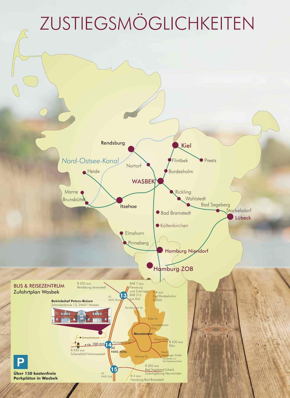 Zustiege 2018 Peters-Reisen Busreisen ab Kiel Neumünster Hamburg Schleswig-Holstein